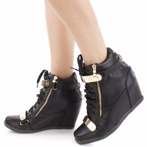 Shoes - 🔥Black Lace Up Strappy Sneaker Wedges Faux Leathe